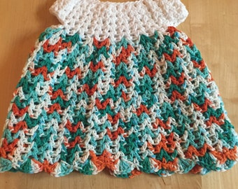Homemade crocheted cotton baby dress 3-6 months