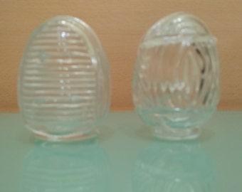 Vintage bird cage glass feeders
