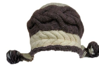 Beanie hat knit, womens beanie hats, womens hats, ladies winter hats, gifts for her, wool hat, merino wool Brown knitted cap