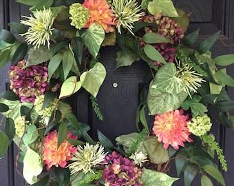 Summer Wreath, Front Door Wreath, Dahlia Wreath