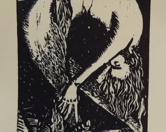 Man From the Moon, woodcut print, 10X16