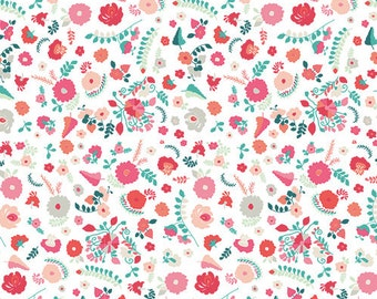 KNIT Fabric, Bullion Fronds Carnation in Knit, Art Gallery Knits, Cotton Spandex Knit, Jersey Knit Fabric, Floral Knit Fabric, K-705