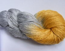 RESERVED for Sophie - Silk lace weight yarn - pearl grey / golden yellow - hand dyed by Rouge Bobine
