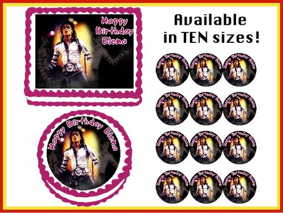 Michael Jackson Edible Birthday Cake Cupcake By Stickerfinds
