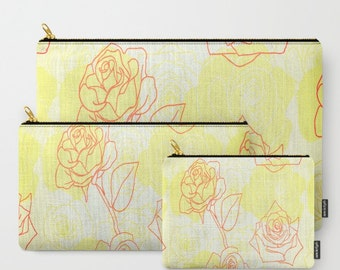 Yellow Roses-Carry All Zipper Pouch -Set of 3