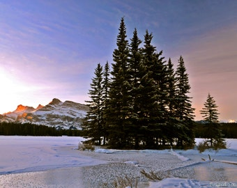 Winter Cotton Candy Sunrise in Banff National Park