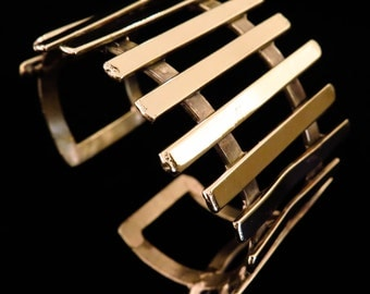 Hand crafted brass or silver cuff bangle