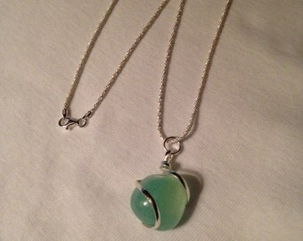 18 inch Aqua Agate Necklace With Sterling Silver Chain