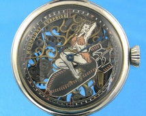 Pin Up Girl Skeleton Wristwatch, Cut out multicolor dial, Swiss made vintage skeletonized hand engraved pocket watch movement, large case