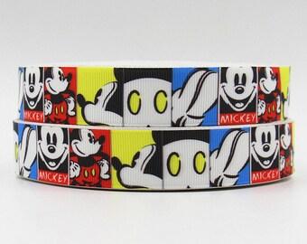 7/8 22mm Mickey Mouse grosgrain ribbon
