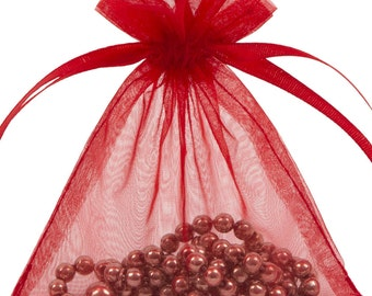 100 Red Organza Gift Pouch Wedding Favour Bag Jewellery Pouch- 6 Sizes