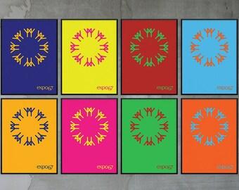 Colourful Expo 67 Montreal Poster Print - Canadian Centennial // Affiche de l'Expo 1967 - Centenaire du Canada - Haut en Couleurs