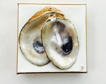 Oyster Shell Canvas Art with Gold Leaf