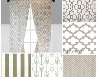 Tan Taupe Beige White Curtain Panels Modern Ecru Quatrefoil Stripe Chevron Curtains Window Treatments Custom Drapes