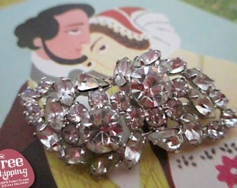 Vintage 1950's Rhinestone Brooch, Glass Pin, Wedding Brooch, Brooch, Pin, Vintage Pin, Rhinestone Pin