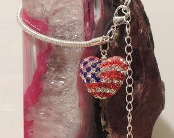 Silver Rhinestone Puff Heart Patriotic Flag Bracelet