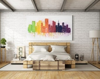 Large Horizontal Abstract Painting, CityScape Painting, Modern Art, Contemporary Art, XL Painting, Large Painting, Abstract Cityscape