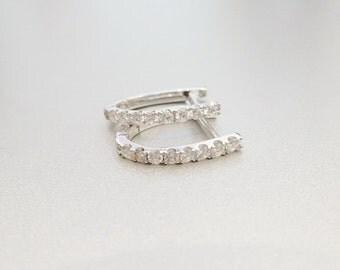 Diamond Hoop Earrings. Classic diamond Earrings.Diamond Earrings.