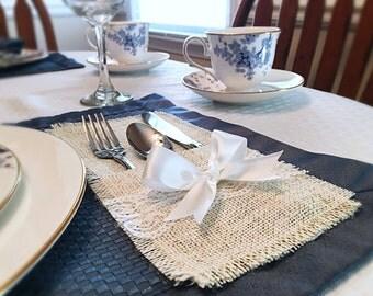 Burlap Silverware Holders- Silverware Holder- Burlap Table Decorations-Rustic Table Decorations-Burlap and Lace Wedding-Wedding Table Decor-