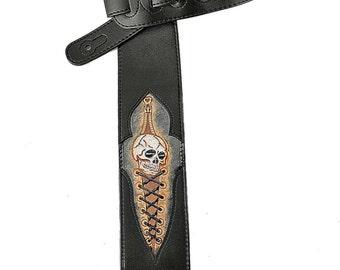 Black Leather Guitar Strap Hand Tooled Skull Design CVG-31