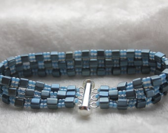 "PJCR Heirloom Jewelry ""Ladder & Bricks"" Bracelet Blue Denim Collection"