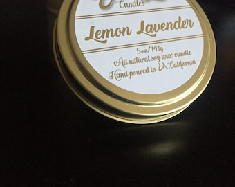 6oz-Lemon Lavender-Scented Soy Wax Candle-Travel Size Tin