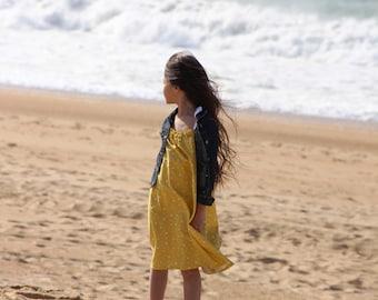 Dress girl, boho-chic, dress one size fits all, romantic, yellow dress, tunic girl