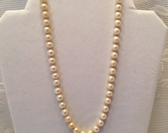 Faux Pearl Necklace ~ 17 inches long ~ Champagne color ~ Vintage