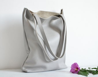 SIMPLE LEATHER Tote Bag Pebbled Leather Laptop Bag Italian Grey Leather Tote - MADRID -