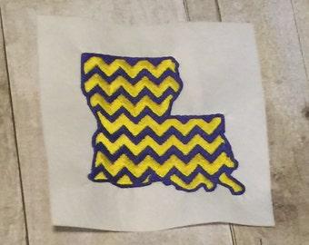 Chevron Louisiana Embroidery Design, Applique,LSU