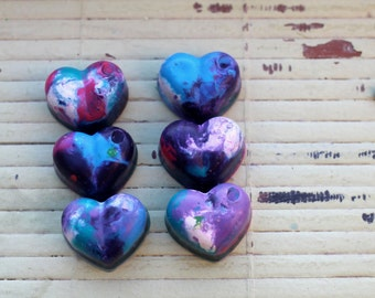 6 Heart Crayons,Recycled Crayons,  Non-Toxic Crayons, Purple Pink  Baby Shower, Nursery Decor, Raspberry, Princess Party, Frozen Party, Baby