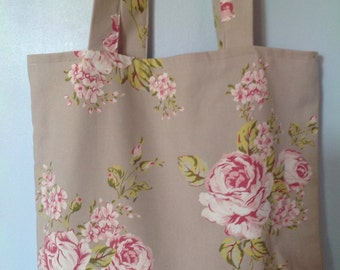 Floral Shopping Bag, Large, Clarke and Clarke Flora, Taupe Colourway, Stripe Lining