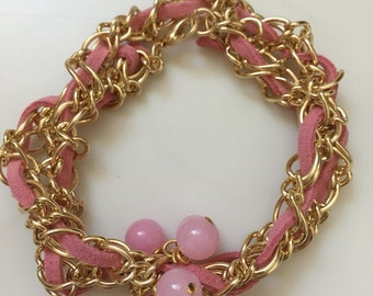 Gold Chain Pink Leather and Pink Bead Bracelet