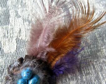 Brid Nest Pin (Blue eggs) Papermache