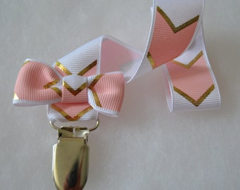 Girl White Pink And Gold Chevron Print Grosgrain Ribbon Pacifier Clip Soothie Holder