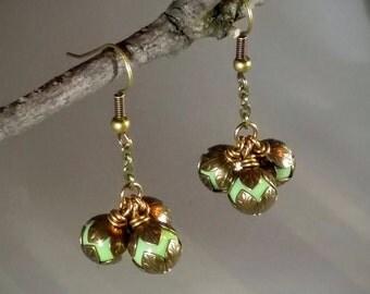 Fiona: Czech glass bead earrings