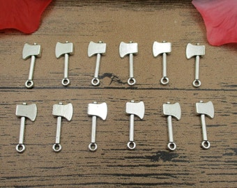 30 Axe Charms , Antique Silver Tone,Double Sided-RS342