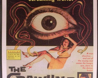 The Walking Eye Reproduction 12'x18' Retro Movie Poster // Monster Movie //