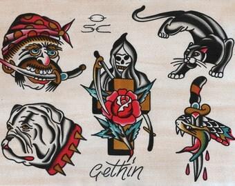 Tattoo art print - traditional tattoo - Sailor Jerry - vintage tattoo - tattoo flash print - gifts for him - bull dog print - grim reaper