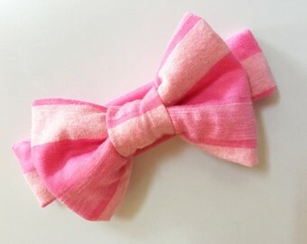 Pink Headband, Pink Stripes Headband, Big Bow Headband