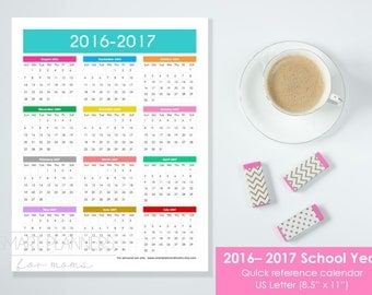 "Printable School Year 2016-2017 Calendar at a glance. US Letter Size, 8.5""x11"". Quick reference calendar. Instant download. PDF file. 300dpi"