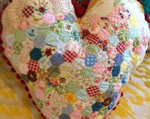 Teeny Hexagon Vintage Fabric Heart Shaped Cushion with bobbles