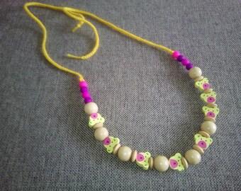 Crochet nursing necklace, teething necklace, yellow nursing necklace