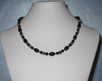 Elegant Black Obsidian, Serpentine and Copper necklace