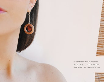 Carob wood earrings.earrings wood  with coral stone.earrings with silver. earrings with stone.jewelry wood.gift for her