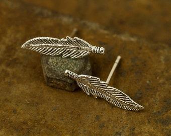 Sterling Silver Feather Stud Earrings, Leaf Stud Earrings, Stud Earrings, Earrings, Minimalist Earrings,Cartilage Earrings, Gift,Silver Post