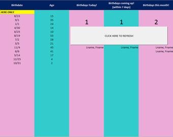 Birthday/Anniversary Organizer - Excel Spreadsheet