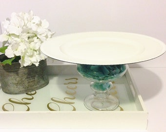 Cake stand,floral cake stand ,white cake stand