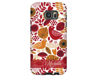 Personalized Galaxy S8 case/S8 Plus case, birds and leaves Galaxy S7 Edge case, Google Pixel case, S6 case, Galaxy A3 case
