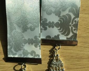White & Silver Damask Ribbon Bookmark